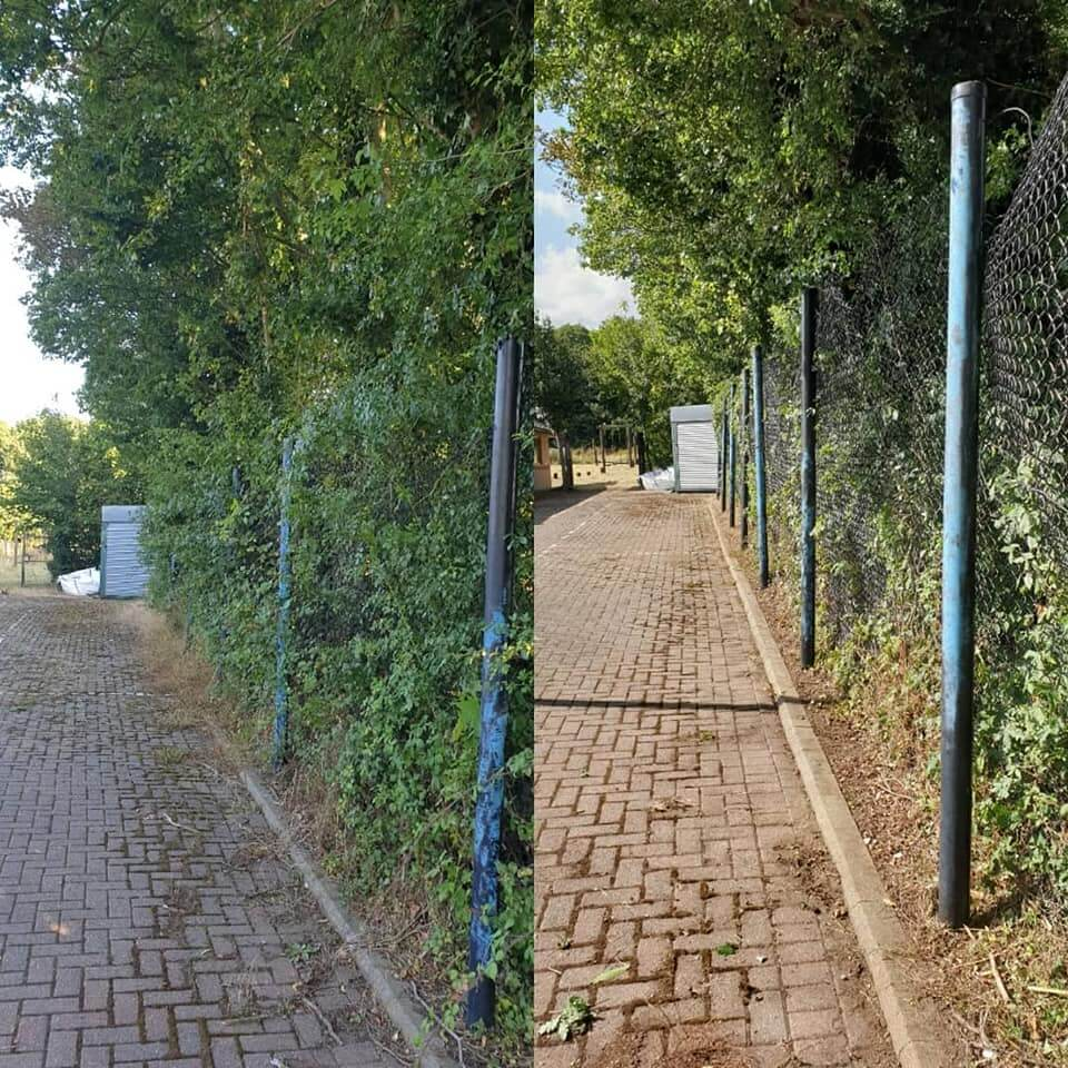 Fencing tidy up before and after