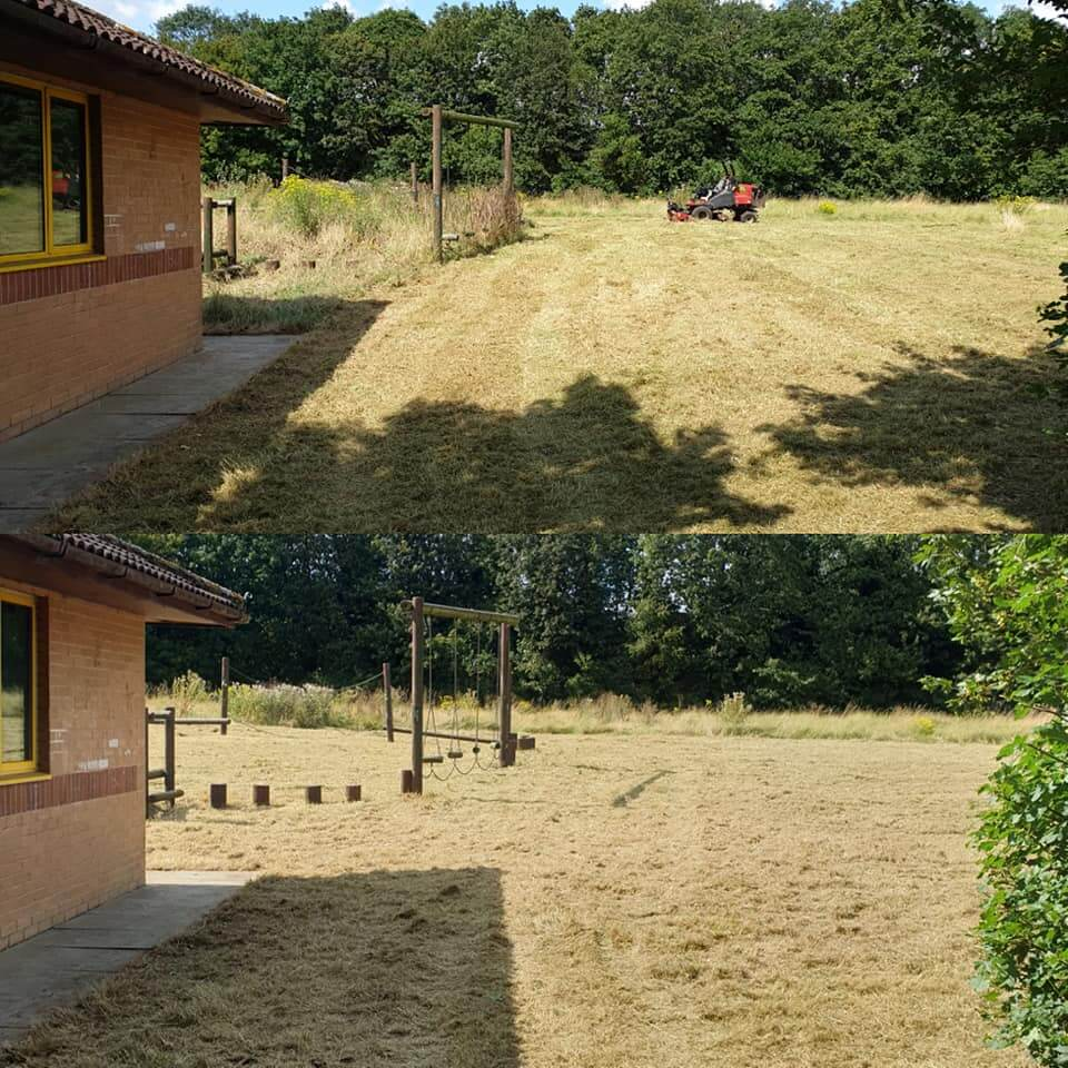 Mowing of the playground before and after
