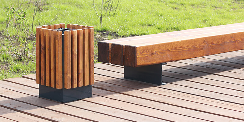 Wooden Bench And Bin